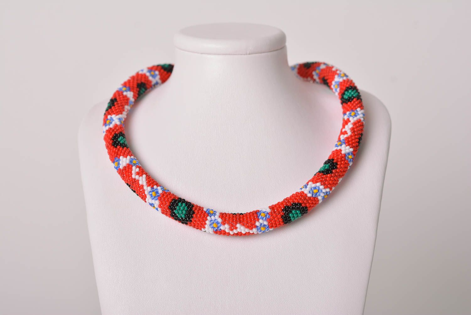 Handmade jewelry stylish necklace beaded cord necklase designer accessory  photo 2