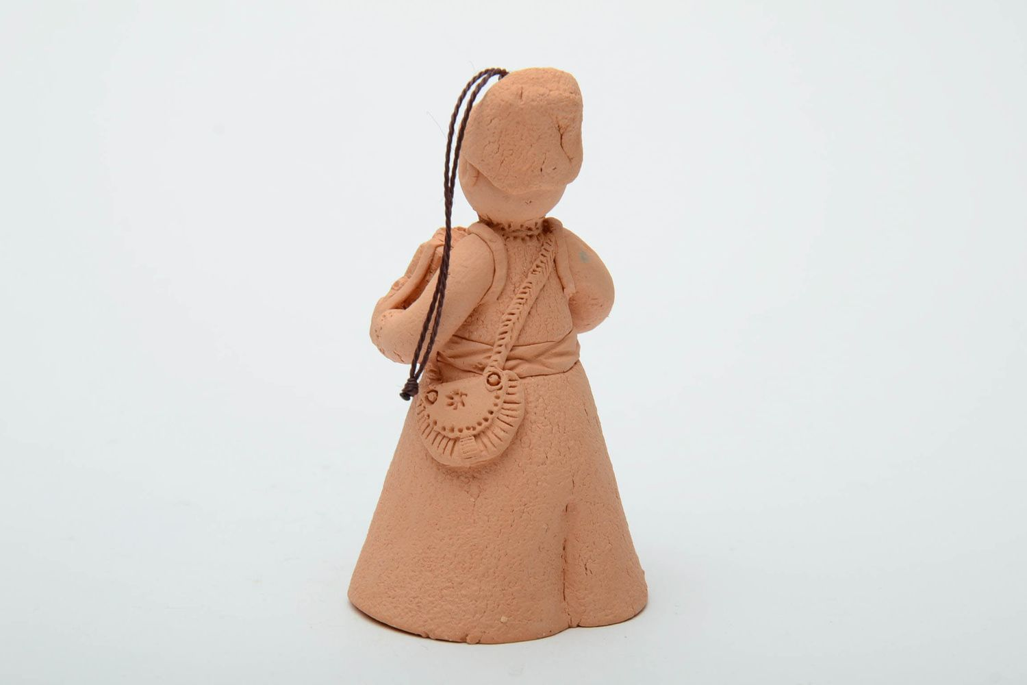 Handmade clay bell in the shape of accordion player photo 3