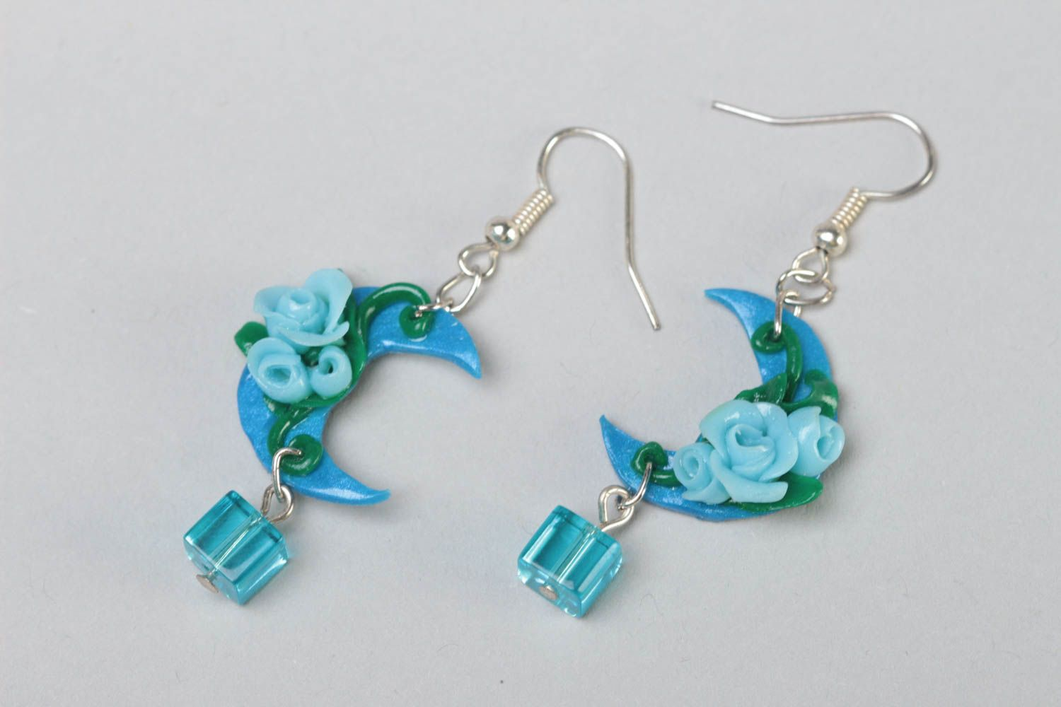 Handmade long polymer clay dangling earrings in blue color palette Moon Light photo 2