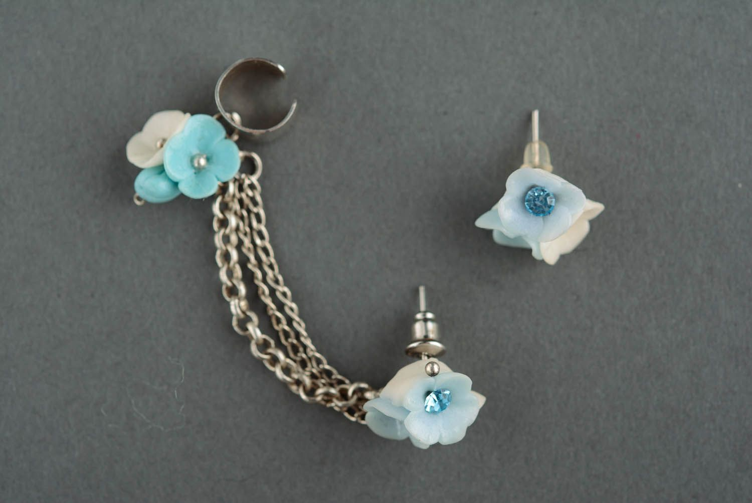 Polymer clay cuff earrings Spring sky photo 2