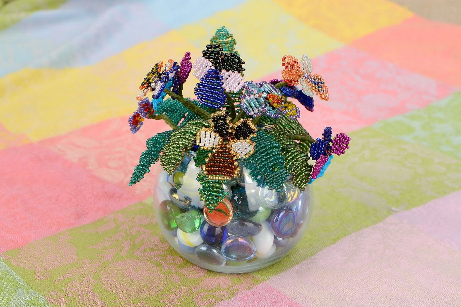 Beaded flowers Pansies photo 1