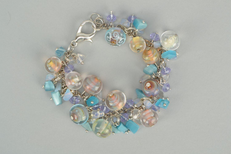 Lampwork glass bracelet Sea Stones photo 1