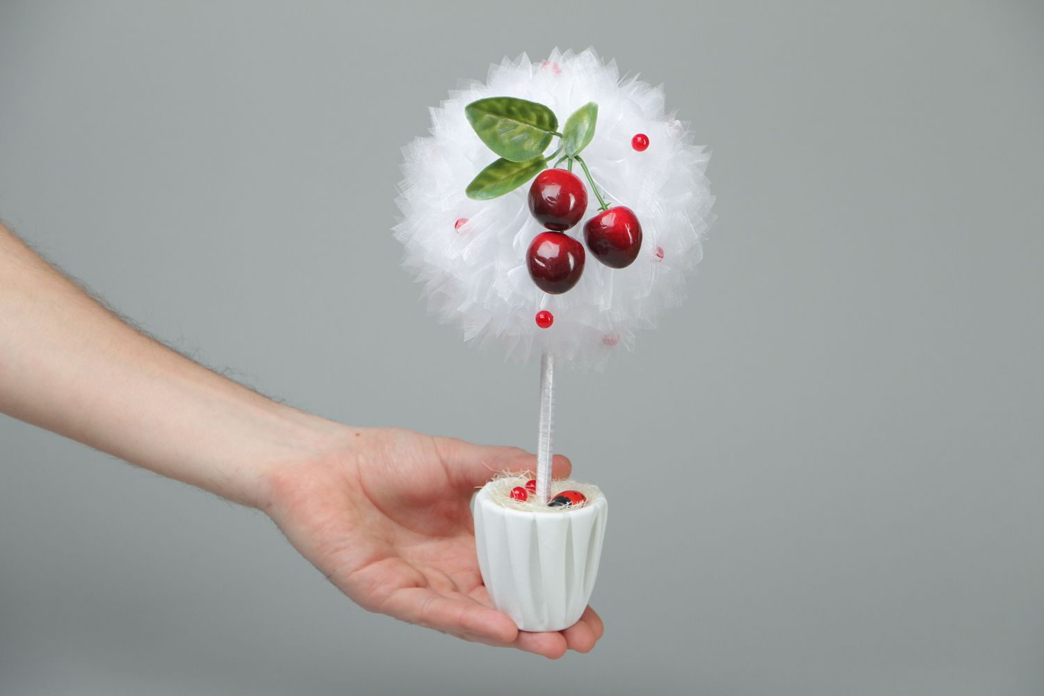 Organza topiary with cherry photo 4