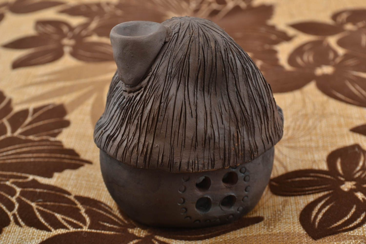 Clay oil burner in the form of small brown house beautiful handmade decor photo 1