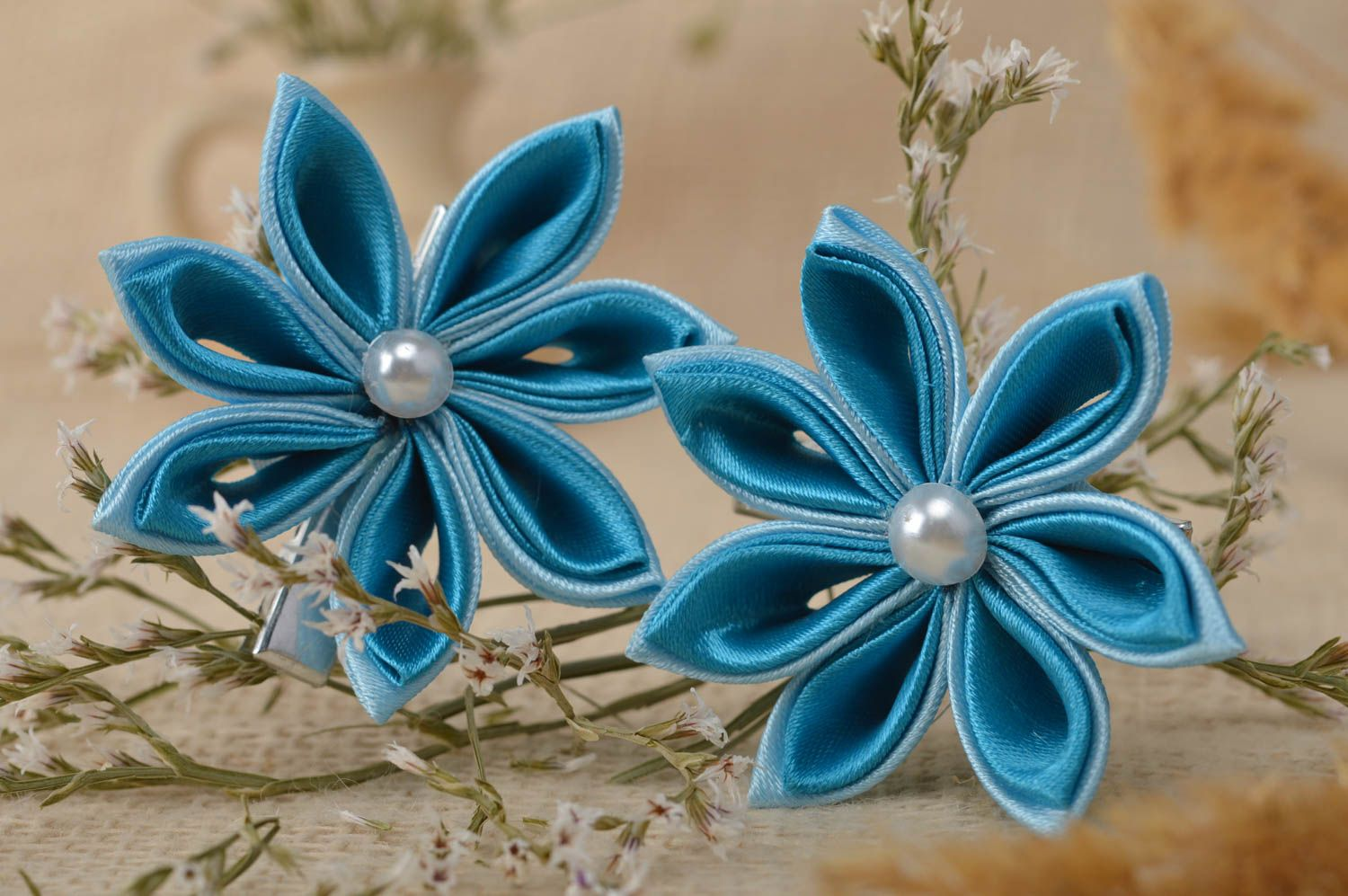 hair clips Handcrafted jewelry set 2 flower hair clips kanzashi flowers gifts for kids - MADEheart.com