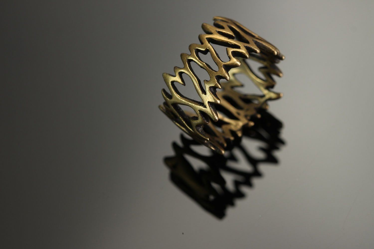 Bronze seal ring Lattice photo 3
