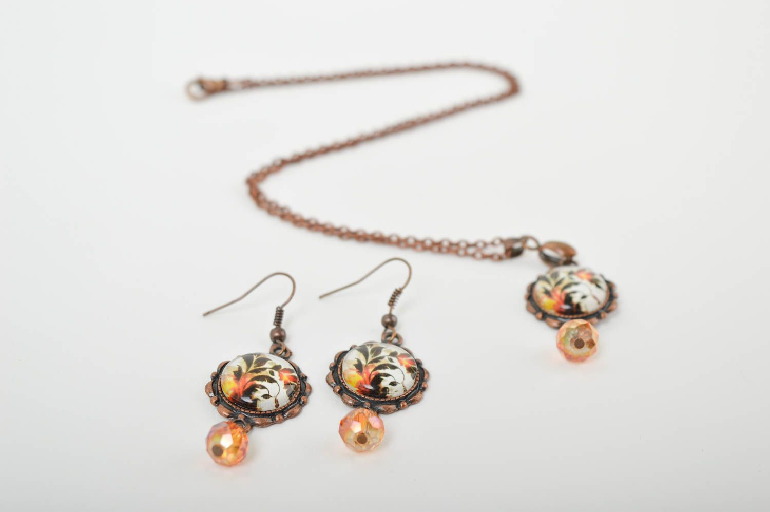 Handmade metal jewelry set glass bead earrings pendant necklace gifts for her photo 2