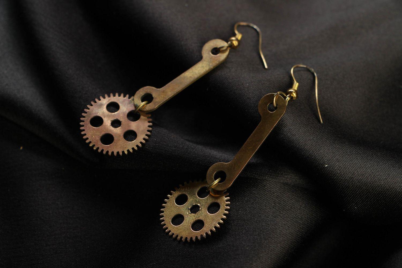 steampunk earrings Metal dangle earrings in steampunk style - MADEheart.com