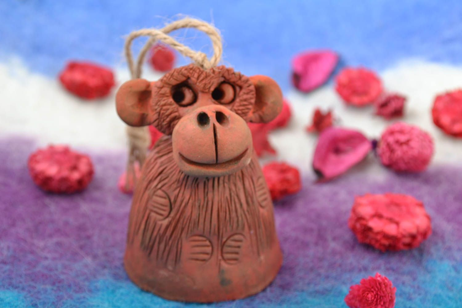 Handmade interior brown bell made of red clay decorative home statuette  photo 1