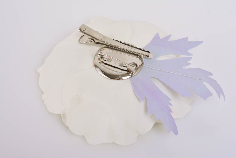 Handmade designer hair clip brooch with large foamiran flower White Poppy photo 5