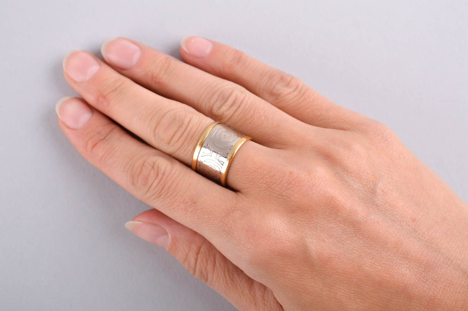 Designer ring unusual gift for women metal accessory brass ring unusual jewelry photo 5