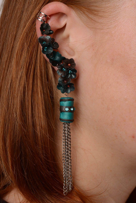 Polymer clay cuff earrings Breeze photo 3