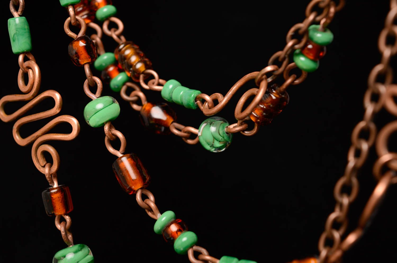 Wire wrap necklace-belt with designer lampwork beads Miria photo 4