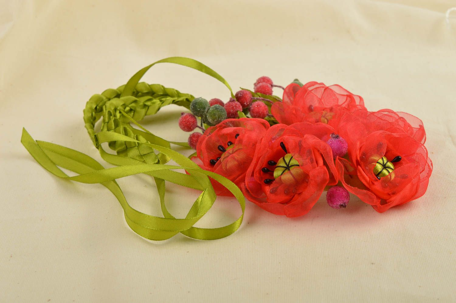 Unusual handmade textile necklace costume jewelry fashion accessories gift ideas photo 1