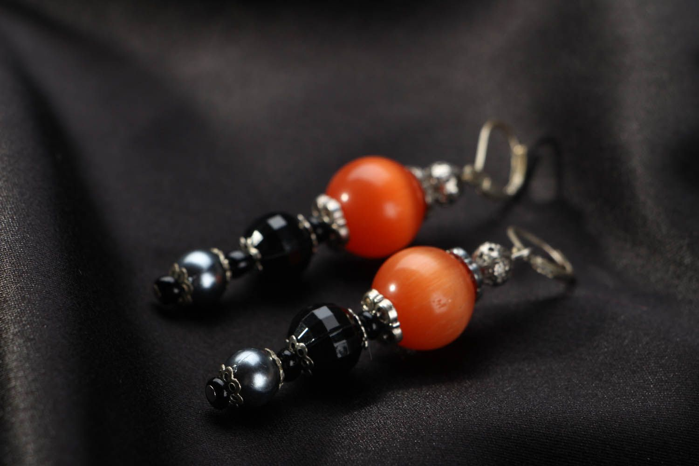 Lange Ohrringe mit echtem Stein foto 2