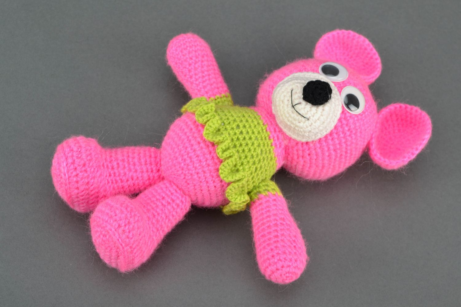 Soft crochet toy Pink Bear in Jacket photo 1