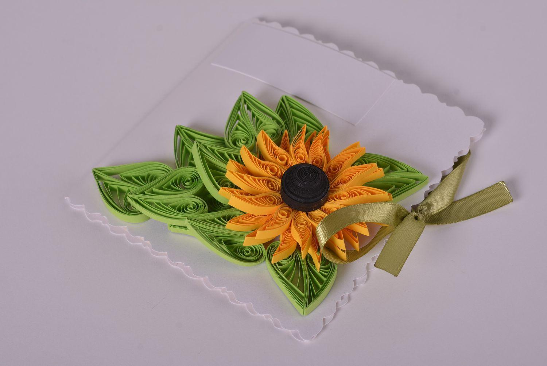Handmade designer cardboard stylish invitation card unusual flower decor photo 1