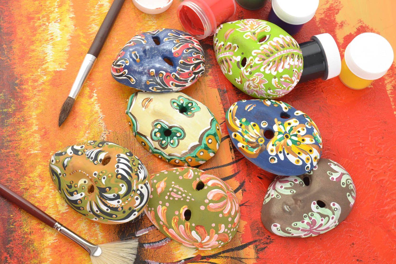 Set of 7 handmade designer souvenir ceramic fridge magnets venetian masks photo 1