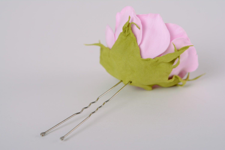 Beautiful women's handmade plastic suede flower hairpin Gentle rose photo 2