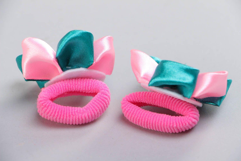 Set of handmade kanzashi ribbon flower hair ties 2 pieces for women photo 4