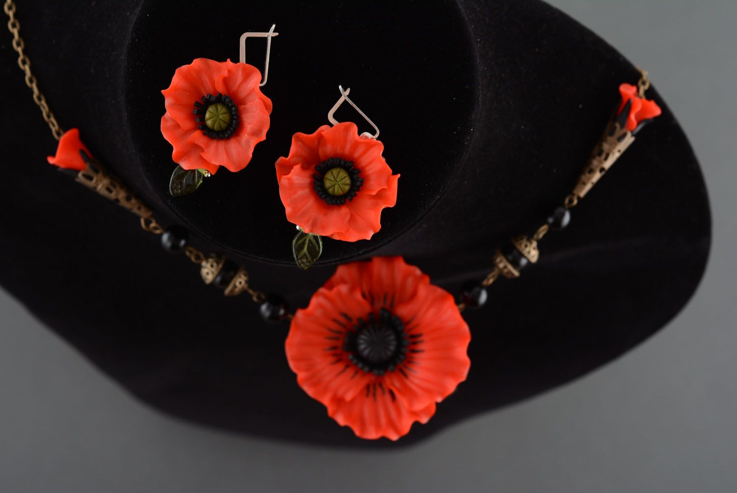 Polymer clay jewelry set Poppies photo 2