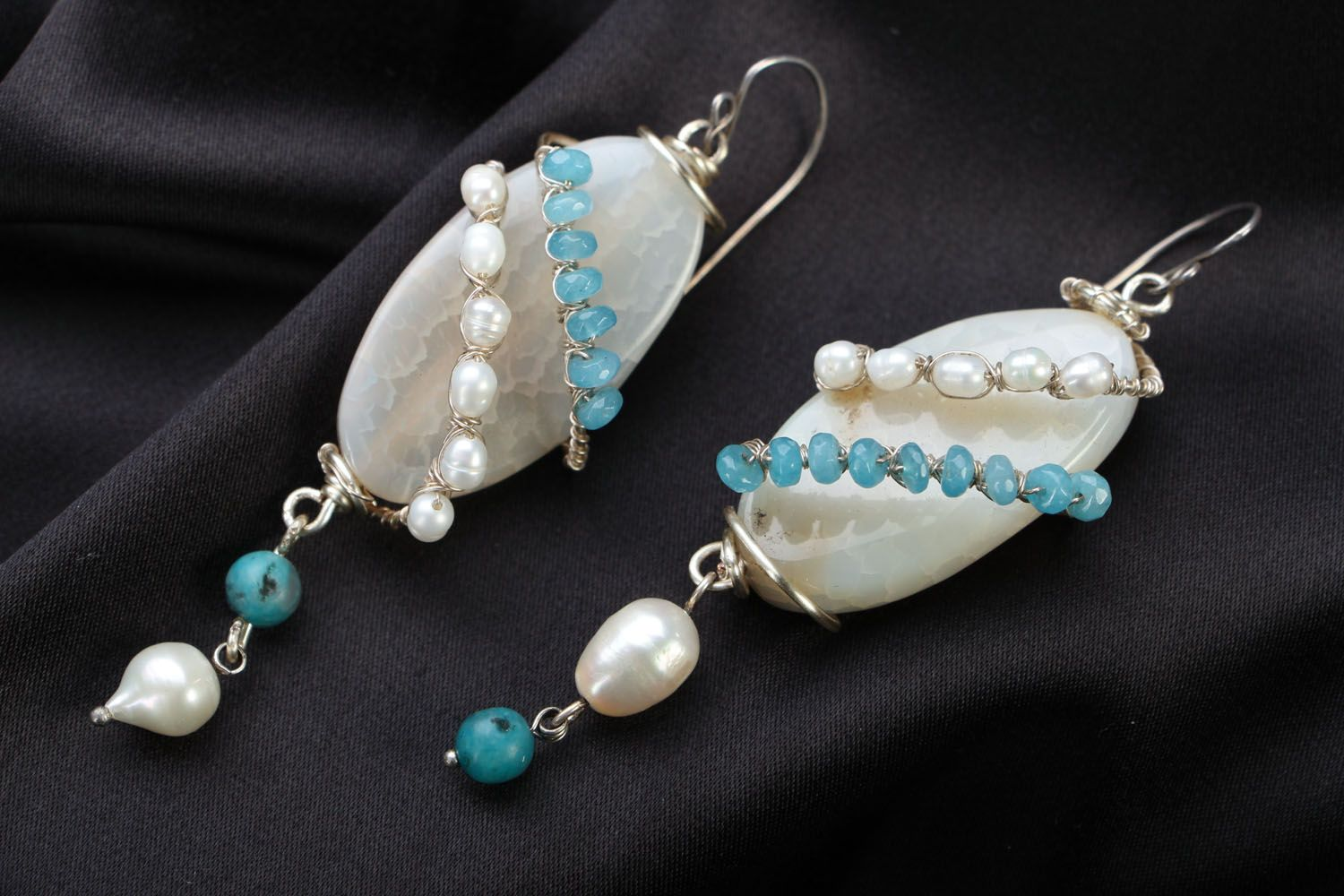 Natural stone earrings photo 1