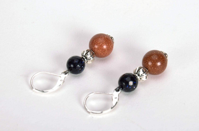 Long earrings with aventurine photo 2
