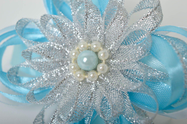Handmade blue scrunchy stylish satin bow barrette scrunchies for children photo 3