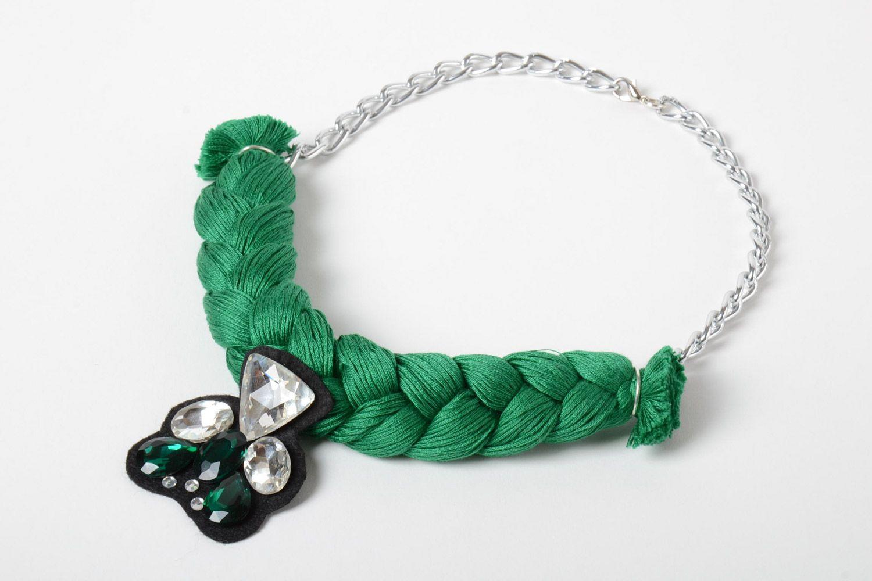 1f5c50de1f89 joyería de Tela Collar trenzado de hilos y cadena con estrases de mujer  voluminoso artesanal -