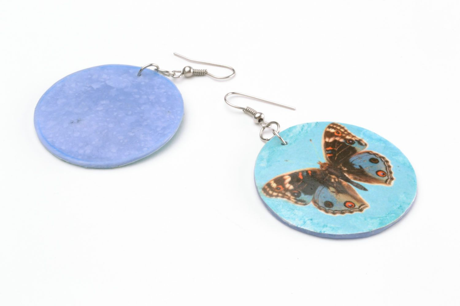 Earrings made of polymer clay with decoupage photo 5