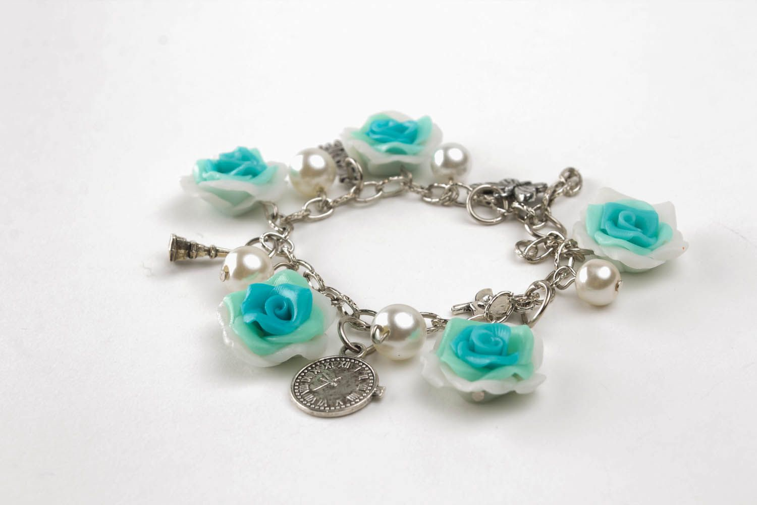 Polymer clay bracelet Summer Roses photo 4