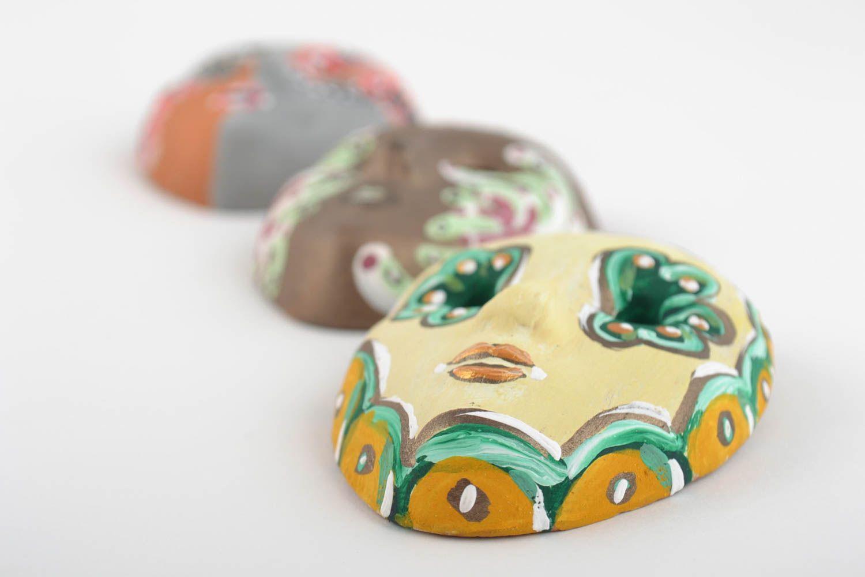 Set of 3 homemade ceramic fridge magnets in the shape of carnival masks photo 2