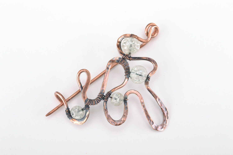 Wire wrap copper brooch photo 1