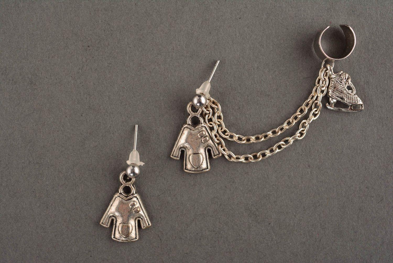 Metal cuff earrings Winter photo 2