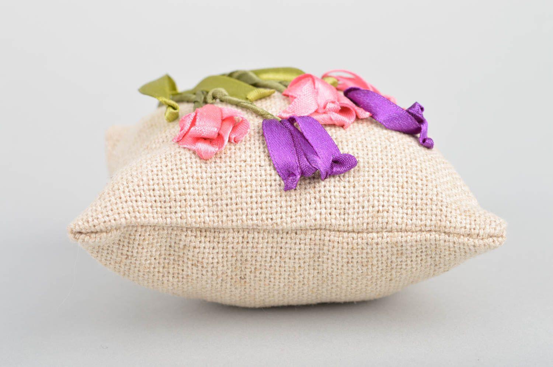 Handmade decorative fabric sachet pillow with satin ribbon embroidery for decor photo 5