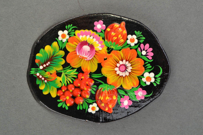Handmade fridge magnet with Petrikivka painting photo 3