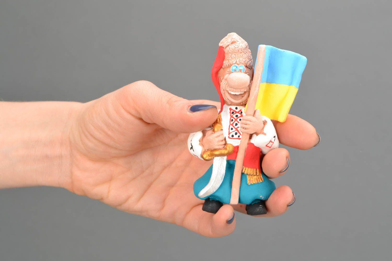 Ceramic fridge magnet Cossack with flag photo 2