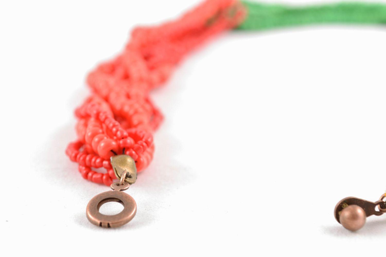 Mehrreihige Halskette aus Glasperlen rot-grün foto 3