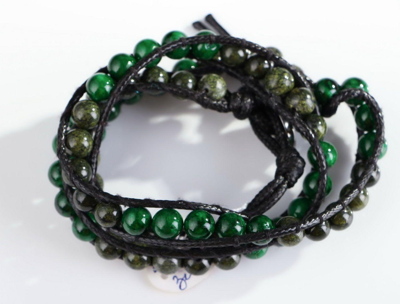 pulseras de piedras Pulsera de cuero, serpentina y malaquita - MADEheart.com