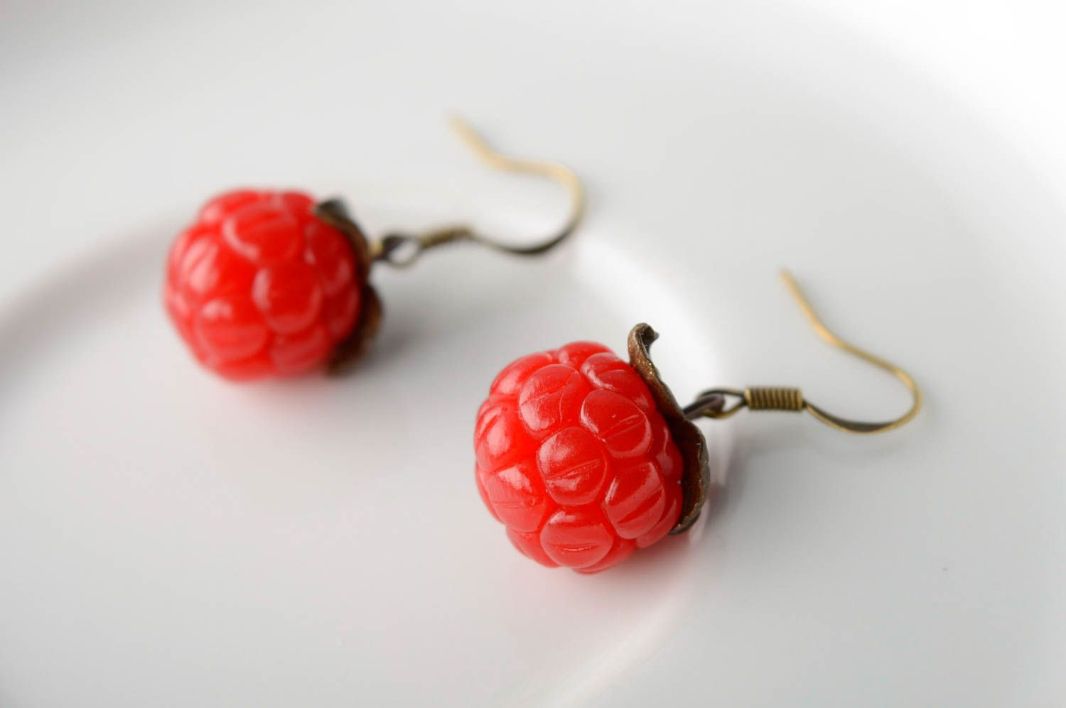 Polymer clay earrings with charms Raspberry photo 1