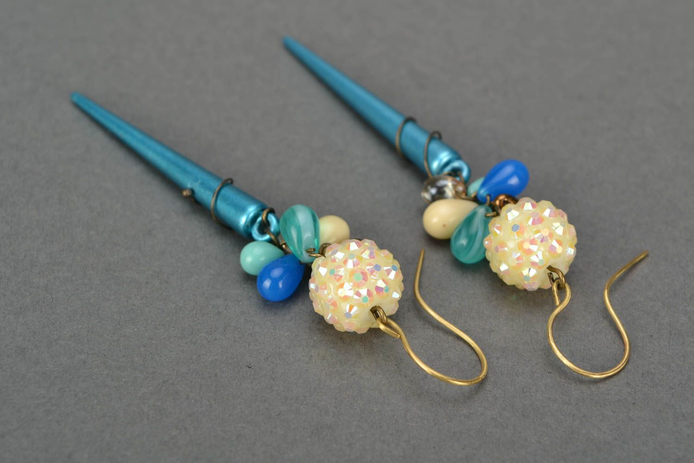 Handmade designer long earrings woven of Czech glass and acrylic beads photo 3