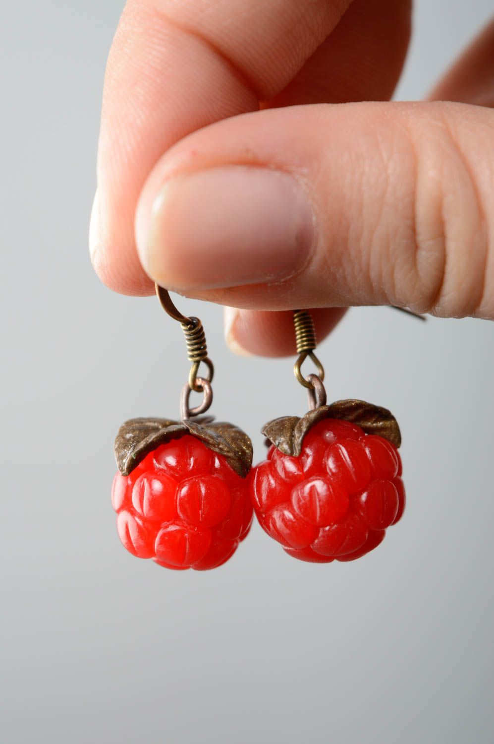 Polymer clay earrings with charms Raspberry photo 5