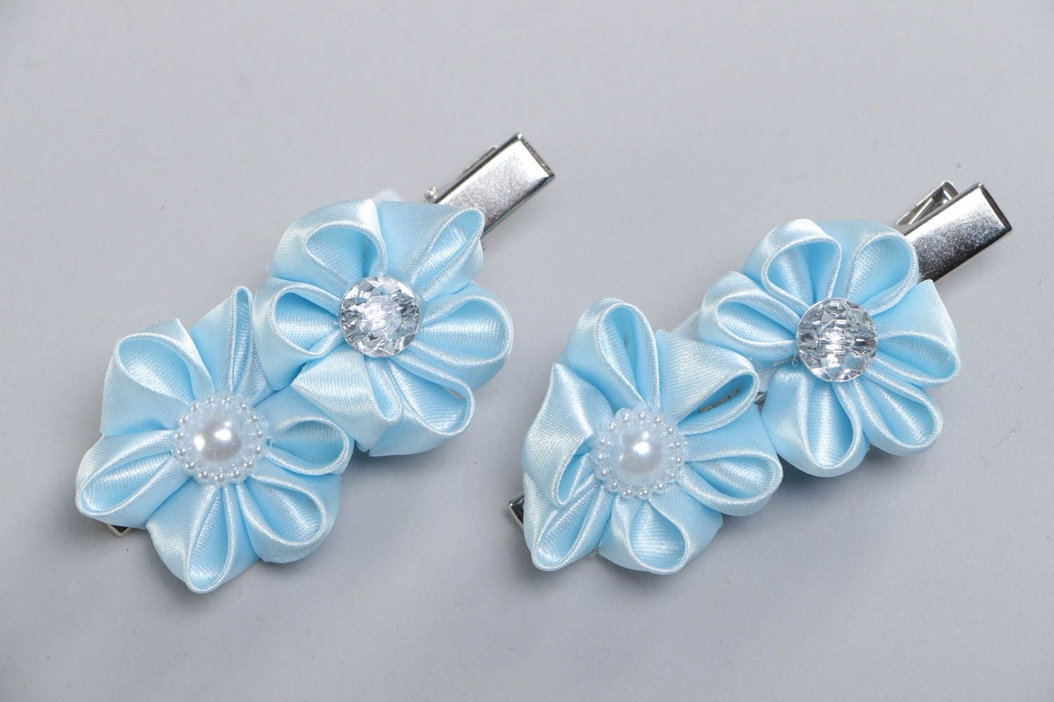 Set of 2 handmade hair clips with satin ribbon kanzashi flowers of blue color photo 2