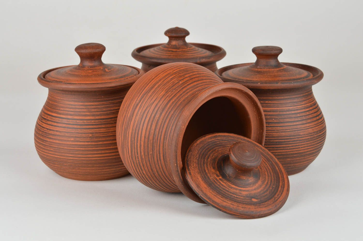 Set of handmade ceramic pots with lids for baking 4 items for 400 ml photo 6