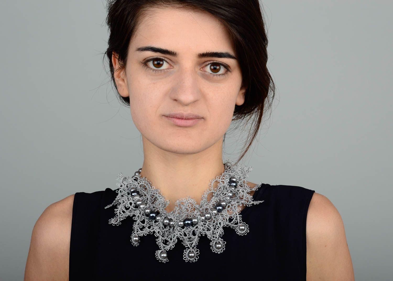 Damen Halskette Halsschmuck für Damen Collier Kette Schmuck handgemacht in Grau foto 5