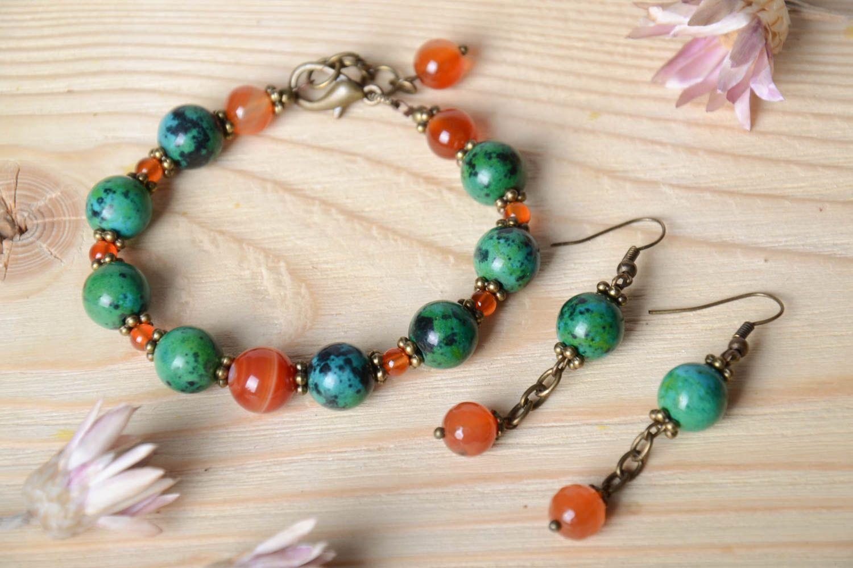 Handmade female wrist bracelet elegant designer earrings elite jewelry set photo 1