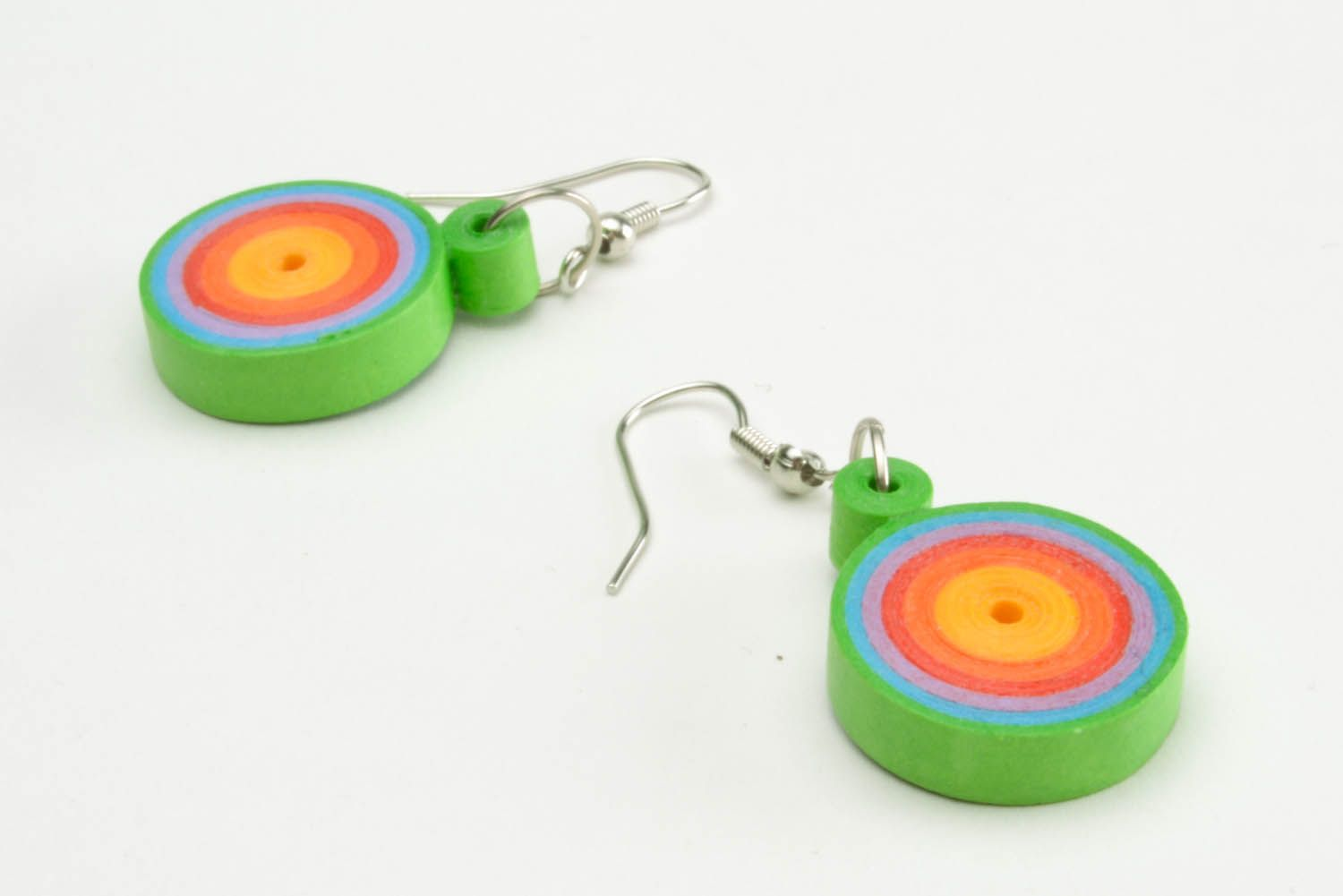 Multicolored paper quilling earrings  photo 4