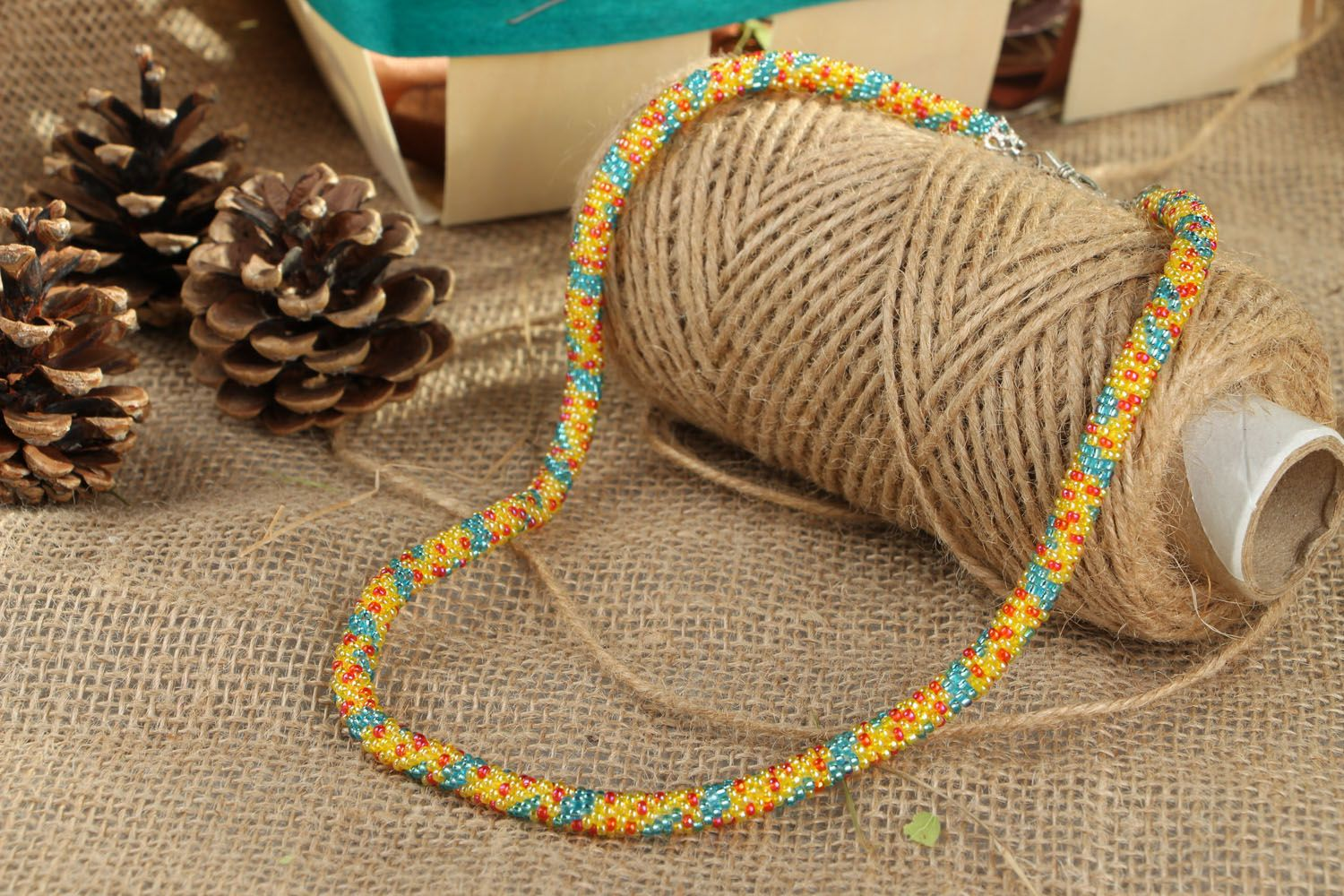 Unusual beaded cord necklace photo 4
