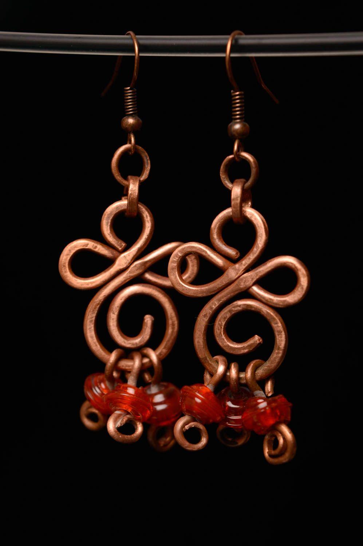 Ohrringe aus Kupfer in Wire Wrap Technik mit Perlen Lampwork foto 4