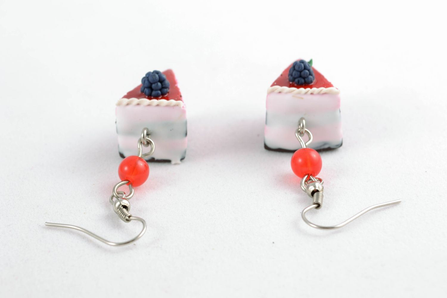 Polymer clay dangle earrings Blueberry Pie photo 4